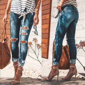 Denim - Distressed Denim Ankle Skinny